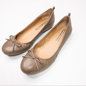 Audrey Brooke Newton Leather Flats With Bow Brown
